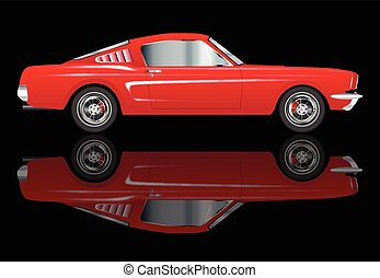 Very Fast Red Car - An American big V8 muscle car with...