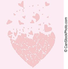 Flyaway Halftone Love Hearts - A large heart made up of...