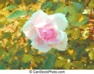 Rose flower dry brush watercolor painting