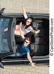 Couple Sitting In A Car - High Angle View Of Couple Sitting...