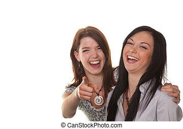dois, jovem, mulheres, estouro, risada
