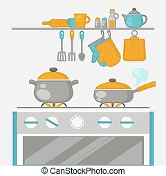 Kitchen Interior, pans on the stove, cooking Vector...