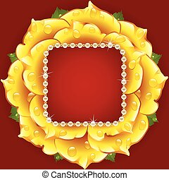 Vector yellow Rose circle frame with pearl necklace