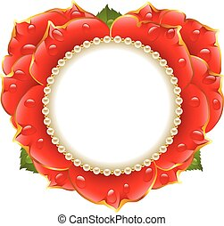 Vector red Rose heart frame with pearl necklace isolated on...