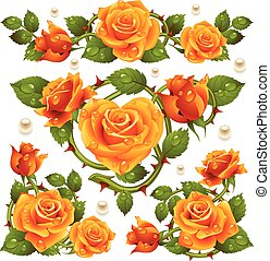 Vector yellow Rose design elements