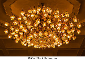 Close up beautiful chrystal chandelier in hotel