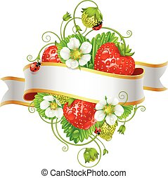 Vector ripe strawberry and ribbon for your text isolated on...