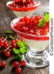 Dessert panna cotta with red currants - Dessert panna cotta...
