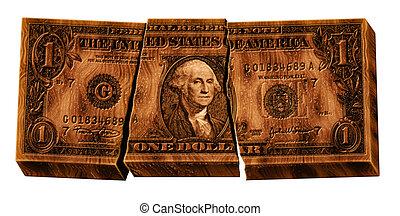 Broken Wooden Dollar - Photo illustration of a broken wooden...