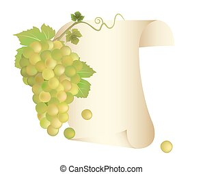 Grapes and paper scroll