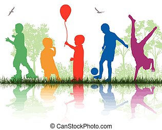 Colored silhouettes of children playing on white background,...
