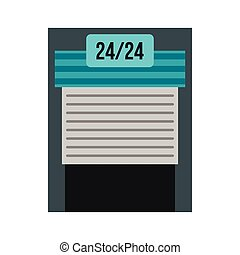 Gates to parking icon, flat style - Gates to parking icon in...