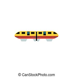 Yellow monorail train icon, flat style - icon in flat style...