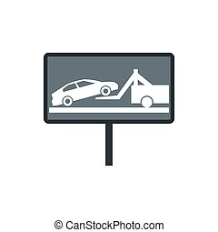 Sign evacuation of cars to impound yard icon in flat style...
