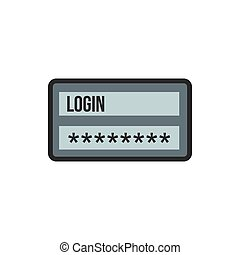 Username and password icon, flat style - Username and...