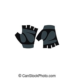 Gloves for biker icon, flat style - Gloves for biker icon in...