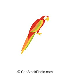 Parrot icon in flat style - icon in flat style on a white...