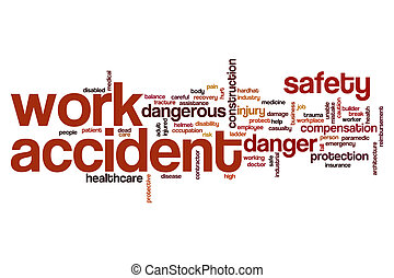 Work accident word cloud concept