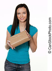 Woman with a package delivery service