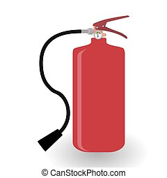 Red Fire Extinguisher Isolated on White Background. Vector Illustration.