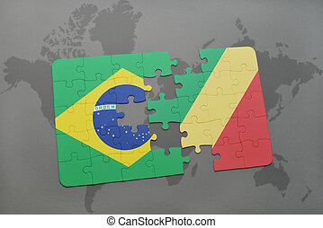 puzzle with the national flag of brazil and republic of the...