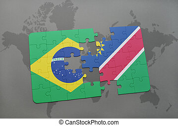 puzzle with the national flag of brazil and namibia on a...