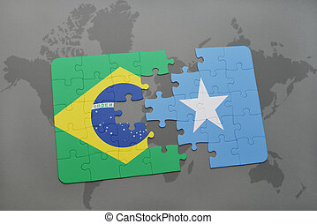 puzzle with the national flag of brazil and somalia on a...