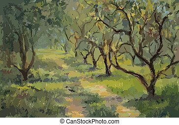 Apple trees, oil painting - Apple trees in russian summer...