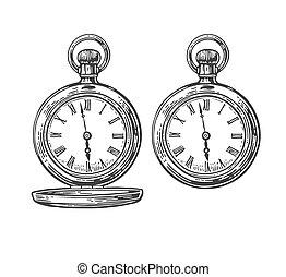 Antique pocket watchs. Vector vintage engraved illustration....