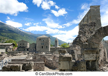 Roman Theatre, Aosta in the Valle DAosta with at background...