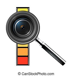 Camera lens with film isolated on white background