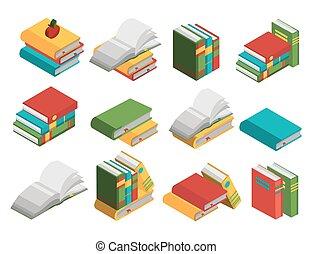 School Books Isometric Icon Set