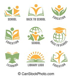 Set of colorful school logos flat isolated green and orange...