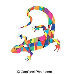 Bright colorful picture with the mosaic lizard isolated on...