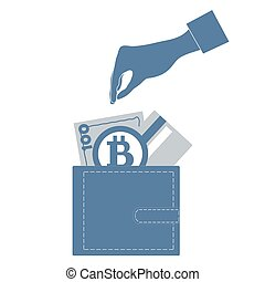 Stylized icon of a colored stretching hands to get a credit card, bitcoin ore money bill into wallet