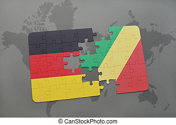 puzzle with the national flag of germany and republic of the...