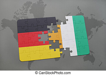 puzzle with the national flag of germany and cote divoire on...