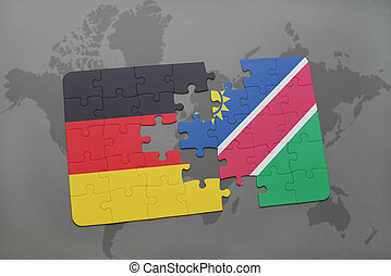 puzzle with the national flag of germany and namibia on a...
