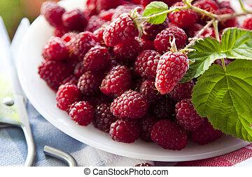 freshly cut natural raspberries