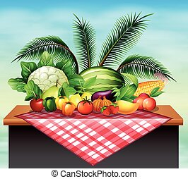 Different types of vegetables and fruit