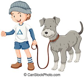 Little boy taking dog out for a walk