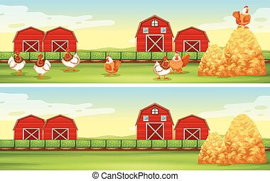 Chickens and barn in the farmyard illustration