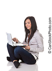 Successful young woman with laptop happy