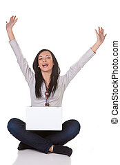 Successful young woman with laptop happy - Young girls...