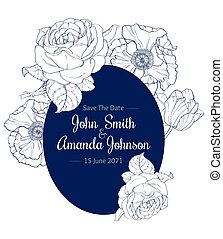 Vector Vintage Navy Blue Vintage Floral Drawing Wedding...