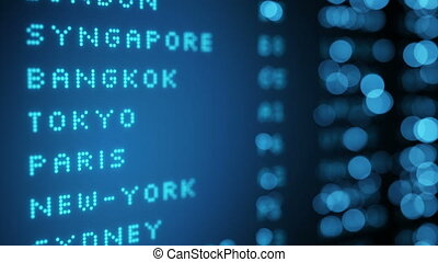 Flight board display at airport shallow DOF seamless loop -...