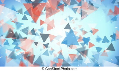 Flying triangles abstract background seamless loop