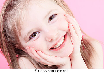 cute fashion little doll girl in pink background