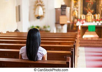 婦女, 祈禱, 教堂