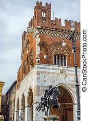 Palazzo Gotico and statue of Alessandro Farnese Piacenza,...